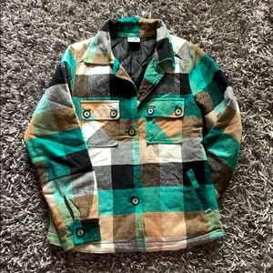 Kavu Plaid Utility Quilted Button Down Jacket